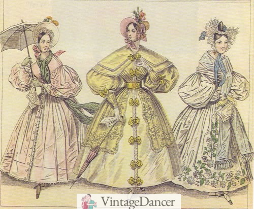 1830s summer dresses and hats