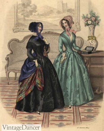 1840s dresses with gathered or pleated skirts