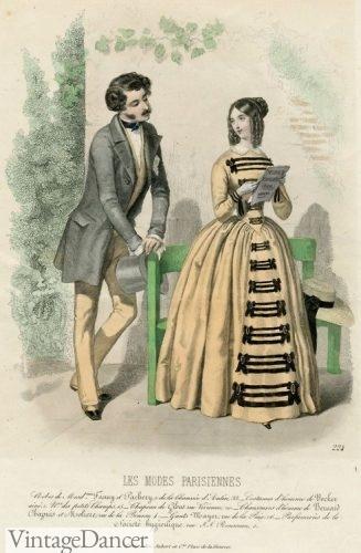 Victorian fashion history 1847 men and women's fashion
