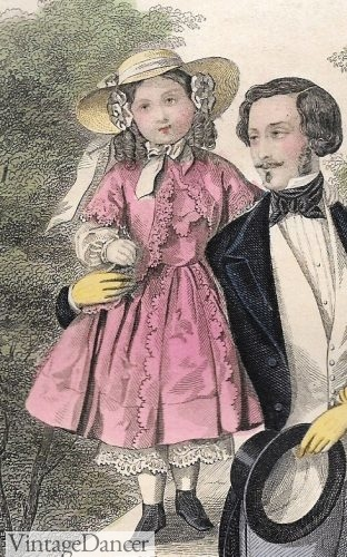 1850s Pink Dress and hat, Victorian girls fashion