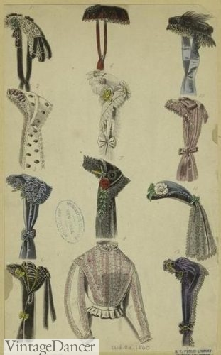 1860 Victorian ladies caps, bonnets Click to see more Victorian hats pictures.