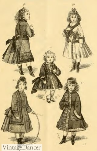 1874 Victorian girl's dresses and coats