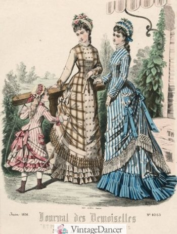 1876 Plaid and stripe day dresses for the upper classes