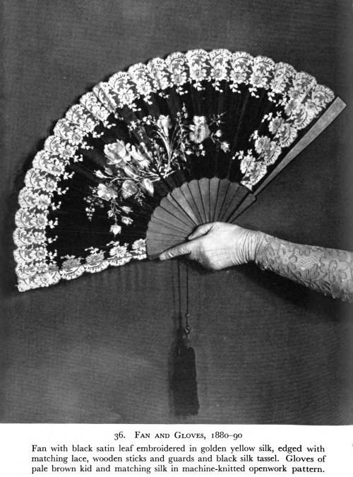 1880-90 Victorian satin leaf embroidery fan