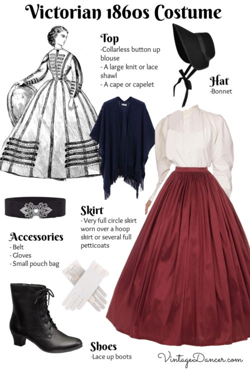 1860s Outfit Civil War era costume idea with hat shoes skirt blouse and accessories at VintageDancer