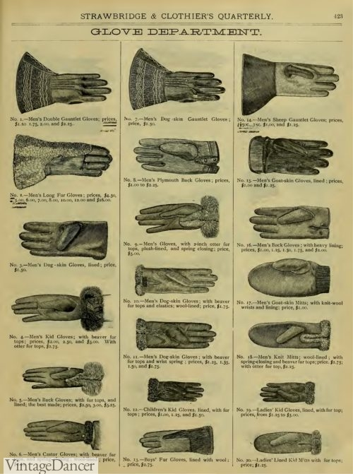1883 men's Victorian gloves