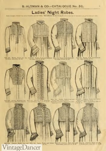 1886 Victorian robes and nightgowns