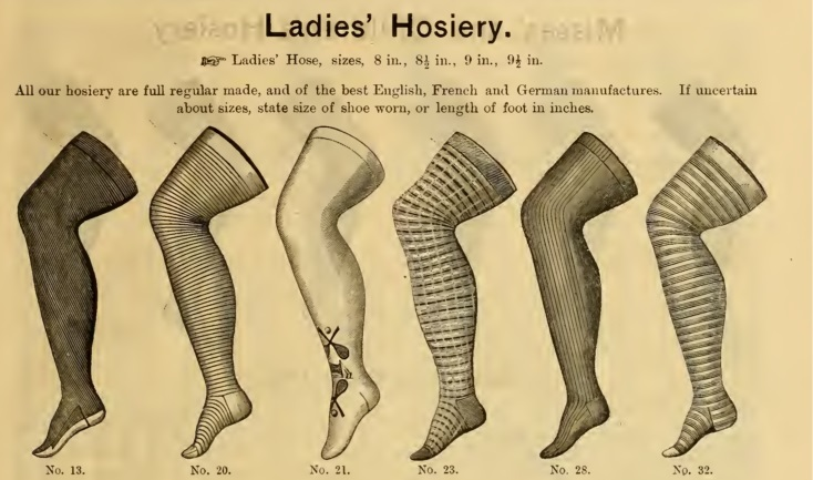 Victorian era 1886 stockings- Black, seal grey, navy blue, garnet red and white on solid, stripes, clocked, and check designs.