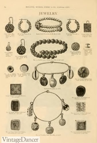 1886 Victorian bracelets and earrings