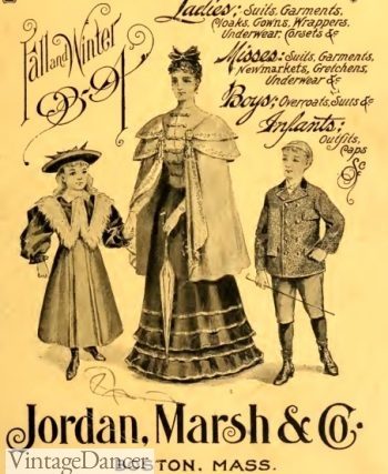 1894 children's clothing, woman's dress with cape coat