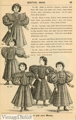 1895 Victorian girl's plaid dresses