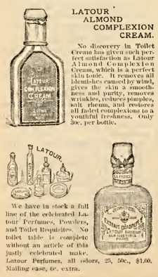 Victorian beauty products - 1895 cold cream (top), perfume (below)
