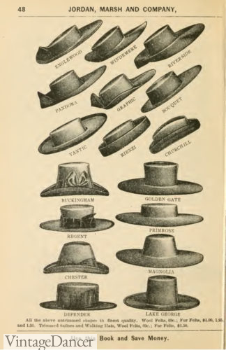 1895 mens hat shapes Victorian era mens hats
