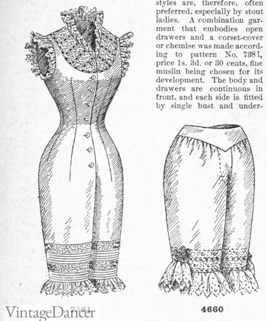 1895 drawers and combination suit Victorian underwear