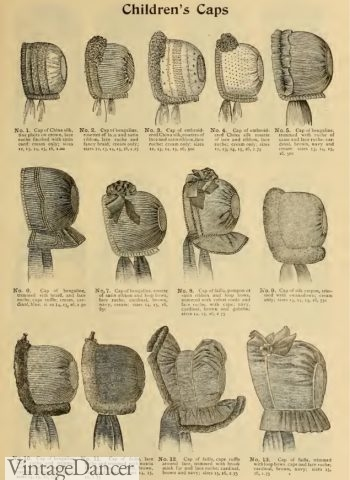 1896 children's bonnets, Victorian hats
