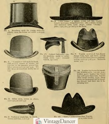 1896 mens hats: top hat, clergy hat, derby, homburg