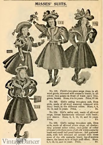 1897 Victorian Girl's sailor dresses and jackets