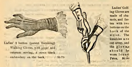 Victorian 1897 ladies walking and golf gloves at VintageDancer