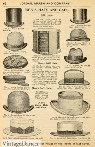 1897 men's hats: derby, planter, homburg, caps