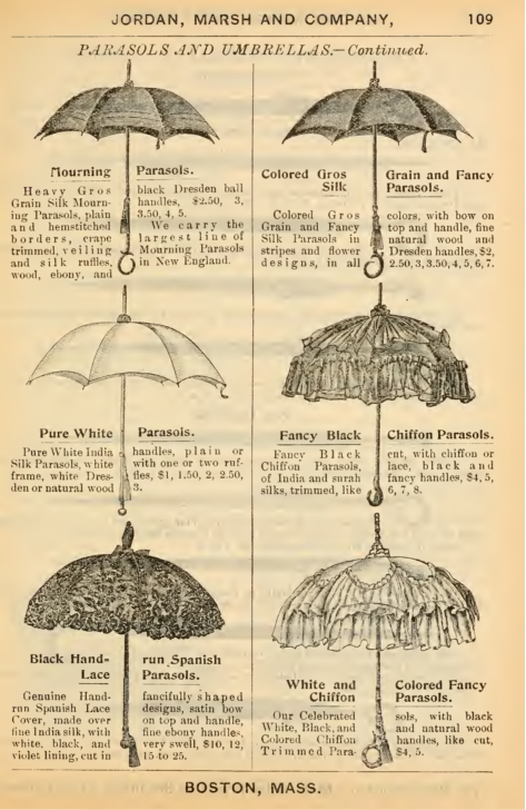 1879 silk, chiffon and lace parasols. Click to see more Victorian parasol pictures.