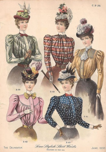 1898 blouses with small puff sleeves