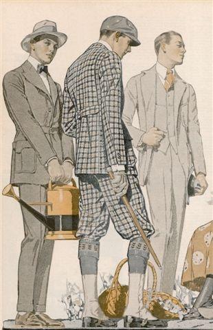 1910s men's tweed and plaid Norfolk suits
