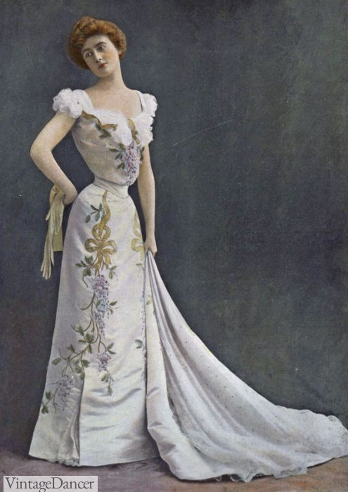 1901 Edwardian Evening dress by Rouff, featuring ruffled sleeves and V neckline at VintageDancer