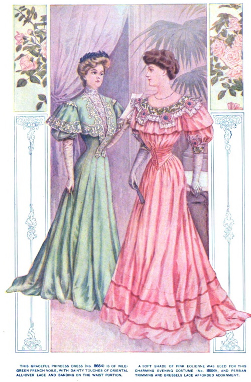 1905 pink evening dress and green dinner dress edwardian era women's elegant evening dresses by VintageDancer