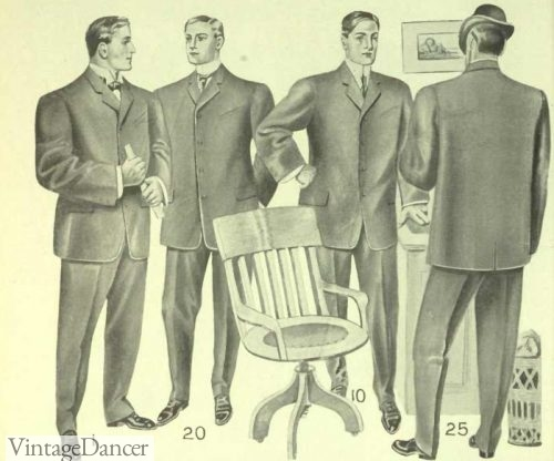 1906 Men's Edwardian Sack Suits Fashion, Clothing, Costumes