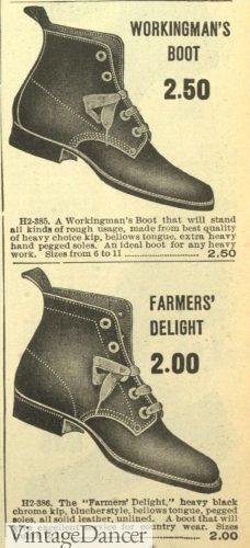 1907 mens work boots 1900s Edwardian era