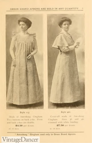 1907 Ladies smock aprons with sleeves