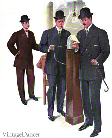 1907 men's blue serge and brown suits