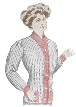 Titanic lower class fashion for women. A knit sweater was more affordable than a long heavy wool coat.