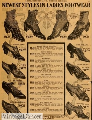 1909 Edwardian women's shoes boots
