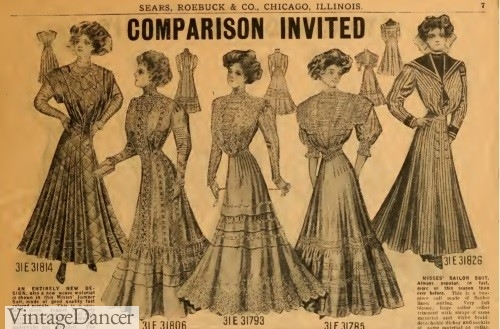 1909- Catalog simple dresses and skirt/blouse combos costing $3 or $70 today. These styles would have been worn by lower classes on board the Titanic.
