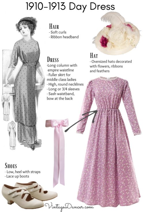 1910-1913 day dress Titanic middle class daytime dress costume outfit DIY at VintageDancer