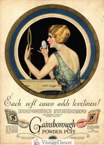 Gainsborough 1910 makeup powder puff advertisement at VintageDancer