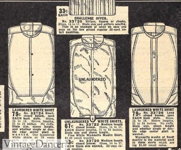 Mens 1910 bosom front shirts in starched (laundered) or unstarched soft bib shirts mens