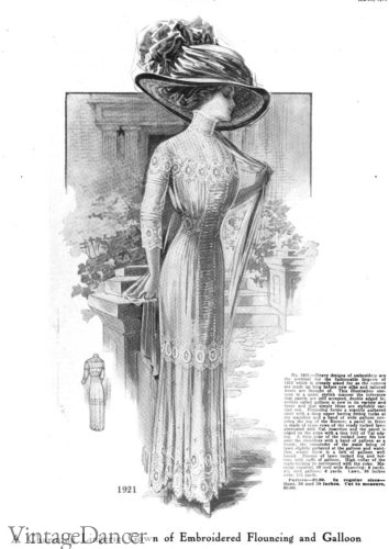 1911 embroidered white dress
