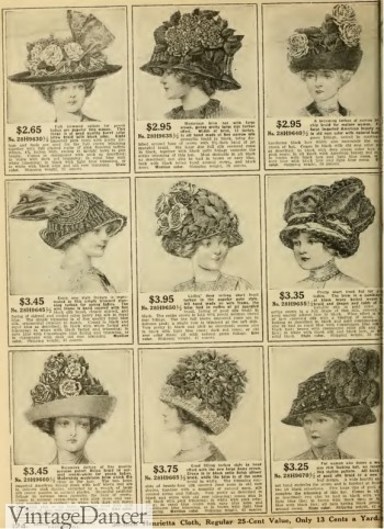 1912 ladies hats- smaller than 1910 styles but well decorated with flowers.