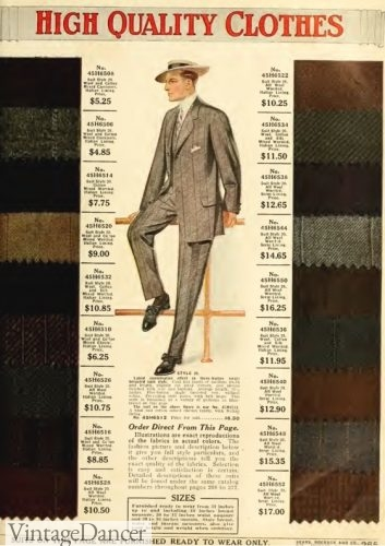 1912 menswear fabric swatches sample book Sears