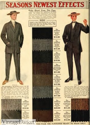 1912 Men's Suit Fabrics. Edwardian men's fashion, Titanic era men's clothing