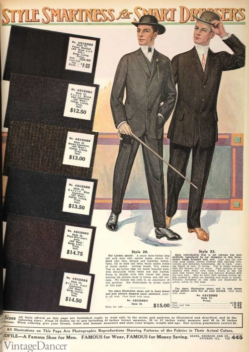 1912 Sears mens fabric swatches sample book Sears