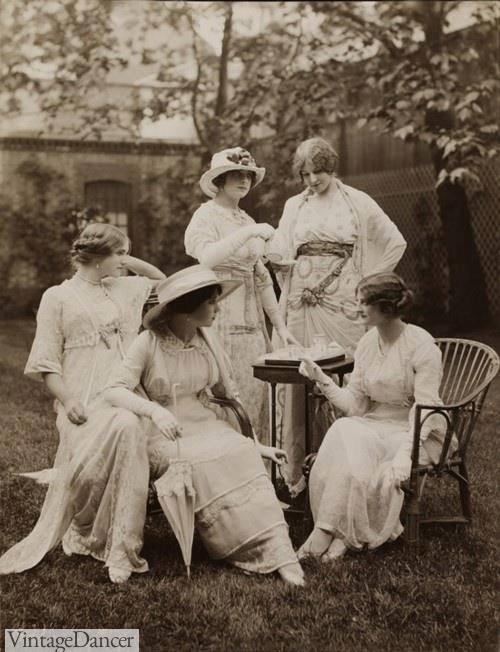 1912, traditional white tea dresses