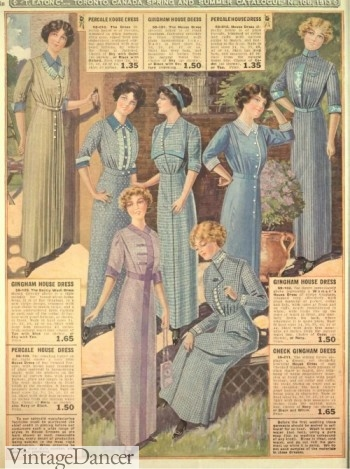 1913, simple cotton day dresses for middle and upper lower classes.