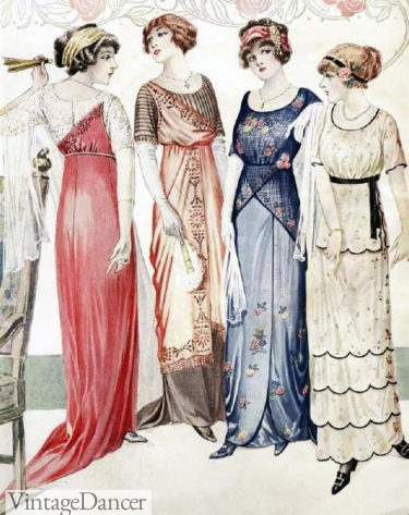 1913 evening gowns illustration, red blue and yellow with empire silhouette