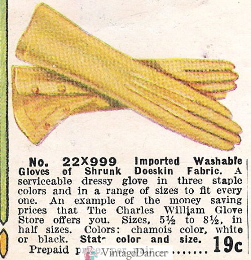 1914 chamois color doeskin gloves