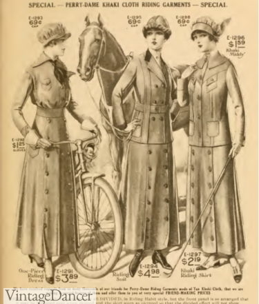 1915 bicycle or horse riding outfits