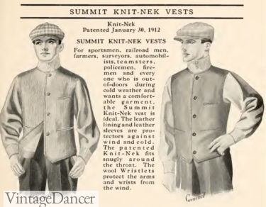 1915 sport vest with leather sleeves and knit neck and cuffs