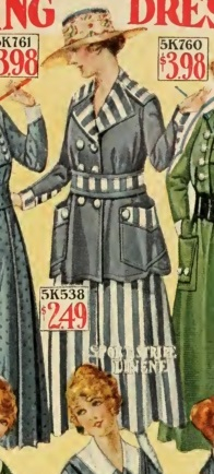 1915 blue and white striped jacket and skirt outfit